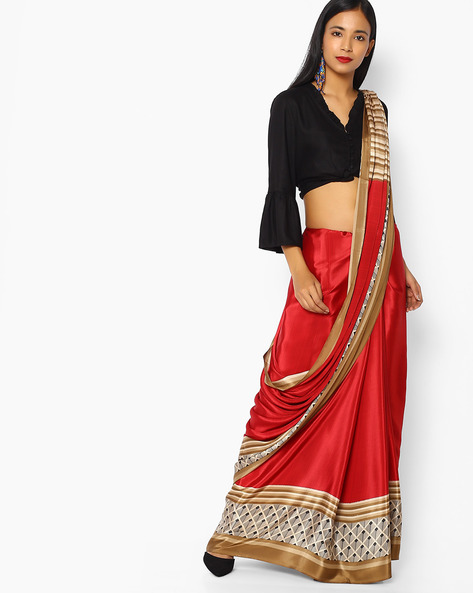 Printed Crepe Saree With Contrast Border By Majestic Silk ( Brown )