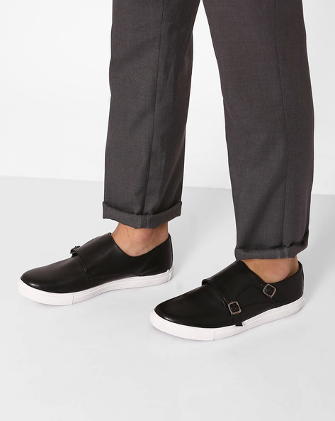 Faux Leather Sneakers With Monk Straps By AJIO ( Black )
