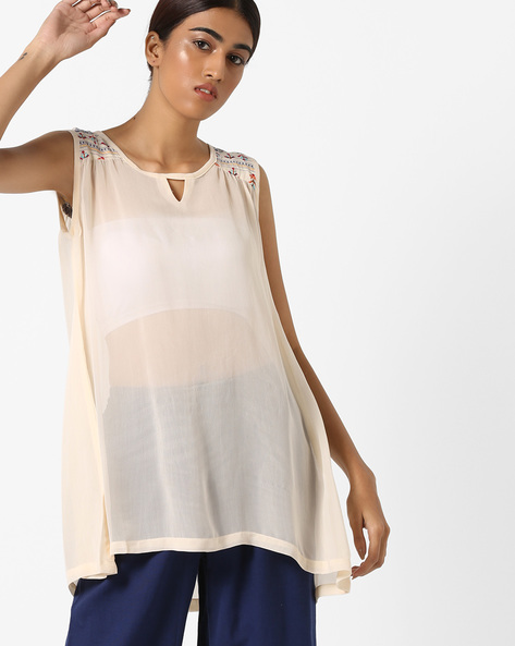 Sheer Top With Printed Yoke By Project Eve IW Fusion ( Yellow )