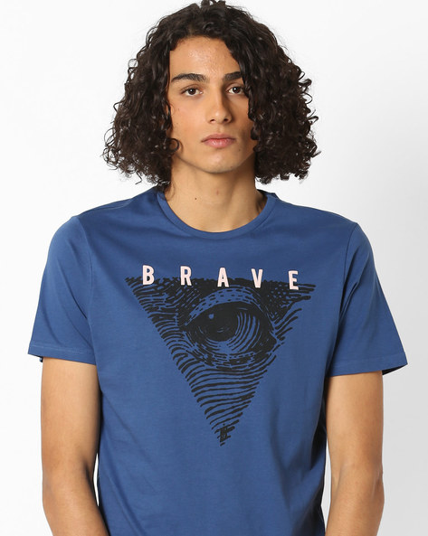Crew-Neck Graphic Print T-shirt By AJIO ( Navy )