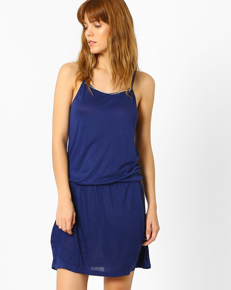 Strappy Nightdress With Pockets By Slumber Jill ( Navyblue )
