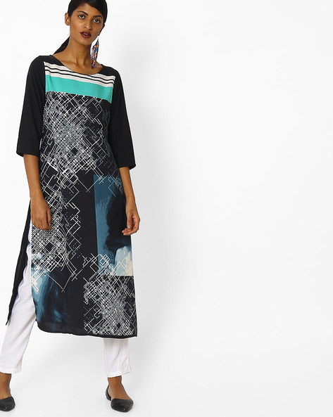 Printed Straight Kurta With Contrast Yoke By AVAASA MIX N' MATCH ( Blue )