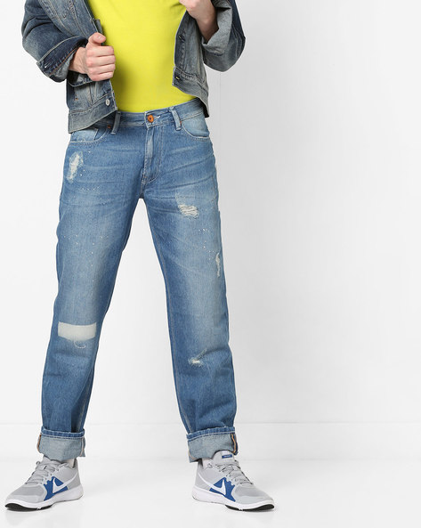 Mid-Wash Distressed Jeans By UNITED COLORS OF BENETTON ( Blue )
