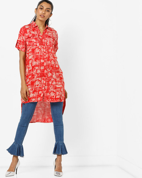 High-Low Printed Mini Shirt Dress By AJIO ( Red )