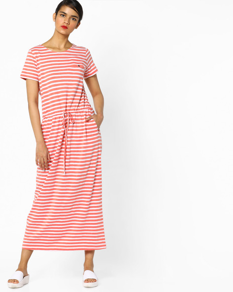 Striped Maxi Dress With Drawstring Waist By PE WW At Leisure ( Peach )