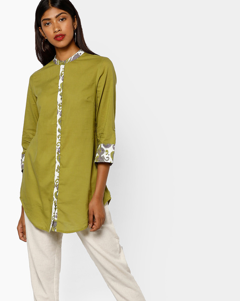 Tunic With Roll-Up Tabs By AJIO ( Olive )