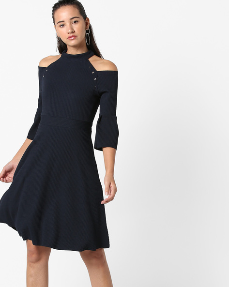 Ribbed High-Neck Skater Dress With Cutouts By CODE By Lifestyle ( Navyblue )