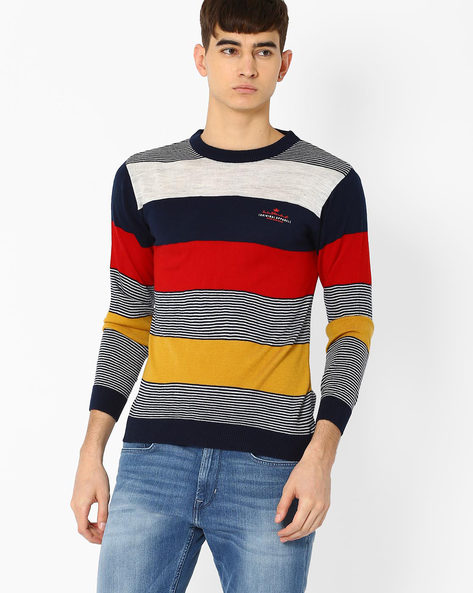 Striped Crew-Neck Sweater By DUKE ( Navy )