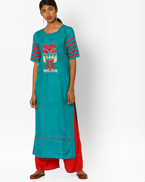 Straight Kurta Suit Set By Jaipur Kurti ( Turquoise )