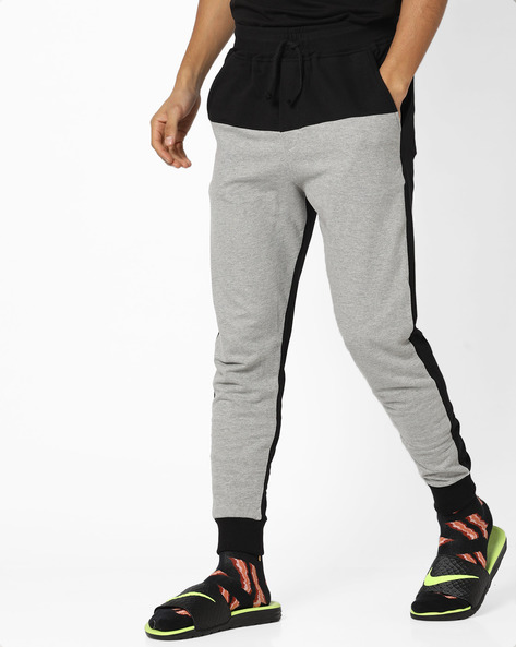 Colourblock Panelled Joggers By DEEZENO ( Grey )