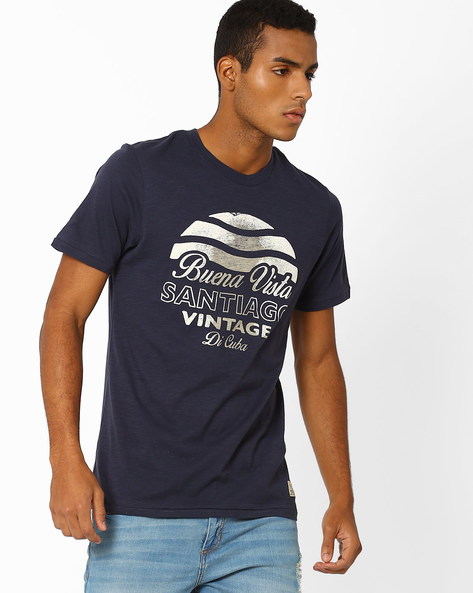 Printed Slim Fit Cotton T-shirt By Jack & Jones ( Indigo )