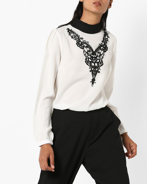 High-Neck Top With Lace Overlay By AJIO ( Offwhite )
