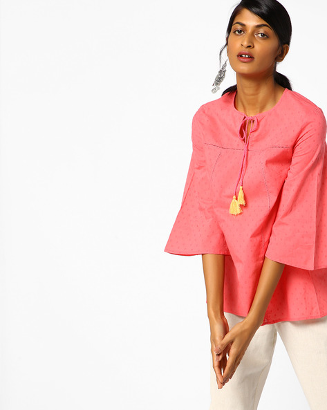 Embroidered Top With Kimono Sleeves By AJIO ( Peach )