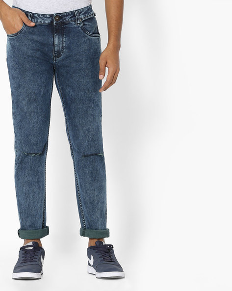 Slim Fit Jeans With Knee Slits By Blue Saint ( Indigo )
