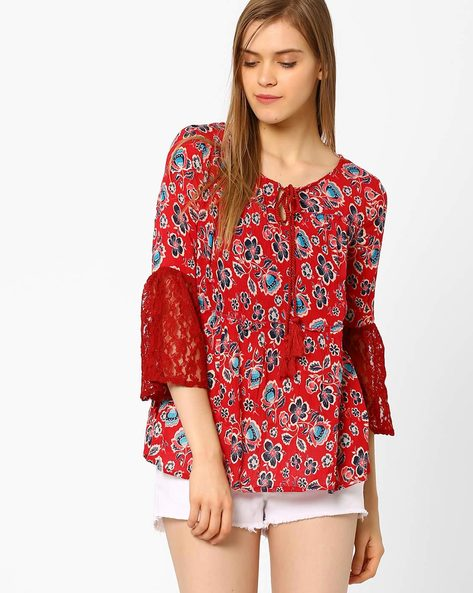 Floral Print Top With Bell Sleeves By CHM ( Red )