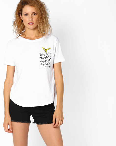 High-Low Crew-Neck T-shirt By Vero Moda ( White )
