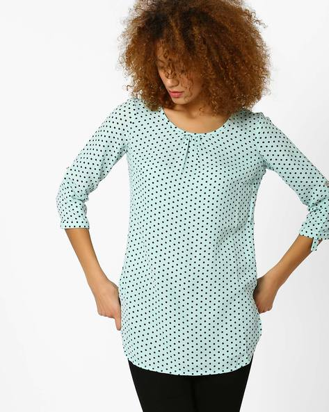Printed Top With Curved Hem By Honey By Pantaloons ( Lgtgreen )