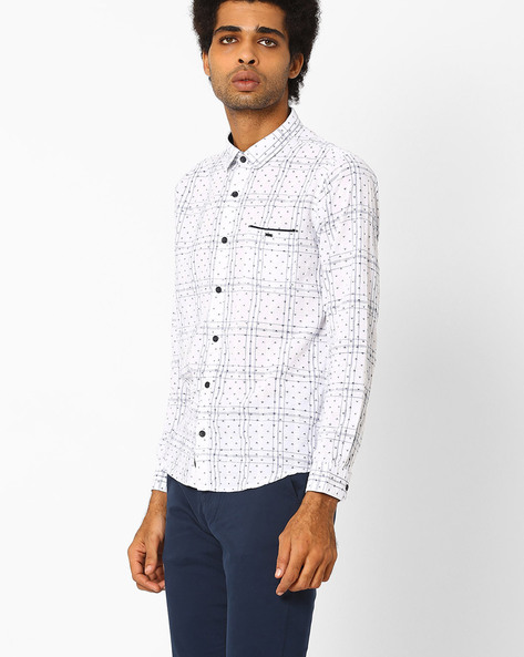 Printed Cotton Shirt By SIN ( Navy )