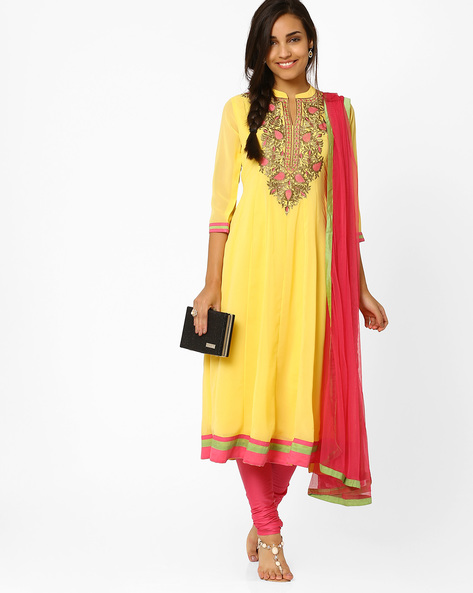 Kalidar Churidar Kurta With Dupatta By AJIO ( Yellow )
