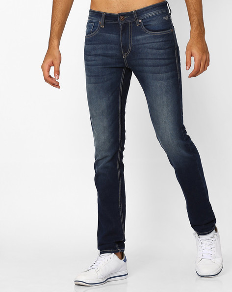 Lightly Washed Slim Michael Jeans By FLYING MACHINE ( Blue ) - 440757591002