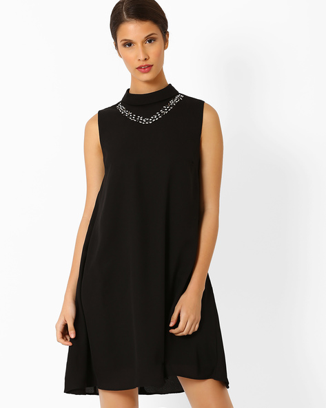 A-Line Dress With Embellishments By AJIO ( Black )