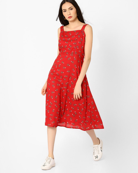 Floral Print A-line Dress By Global Desi ( Red )