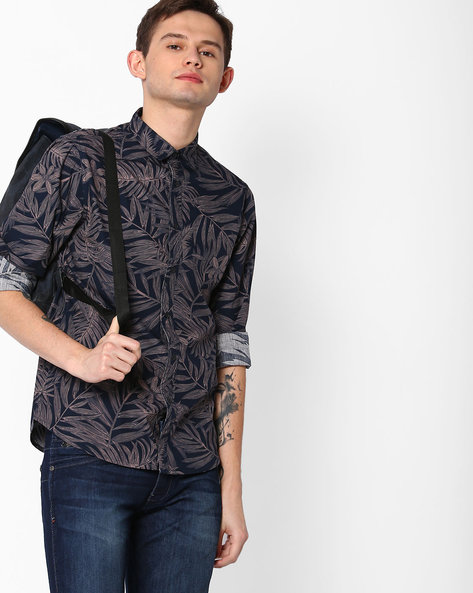Tropical Print Slim Fit Shirt By AJIO ( Navy )