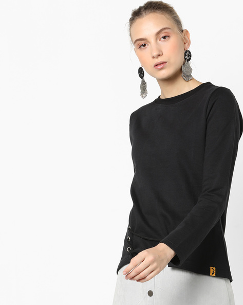 Crew-Neck Sweatshirt With Lace Tie-Up By Campus Sutra ( Black )