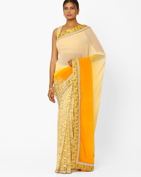 Georgette & Net Designer Saree By RCPC ( Yellow )