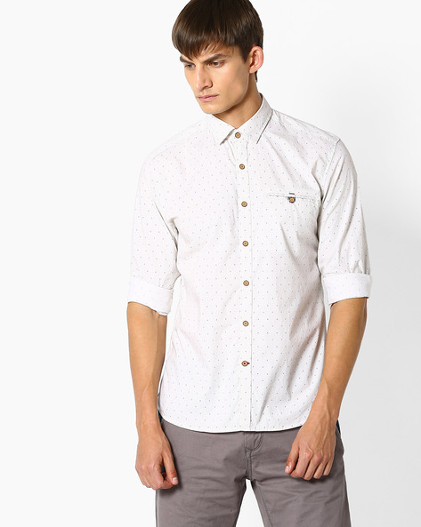 Micro-Print Slim Fit Shirt By NETPLAY ( Khaki )