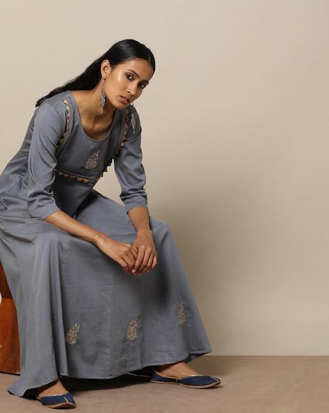 Embroidered Cotton Silk Kalidaar Long Dress By Indie Picks ( Grey )
