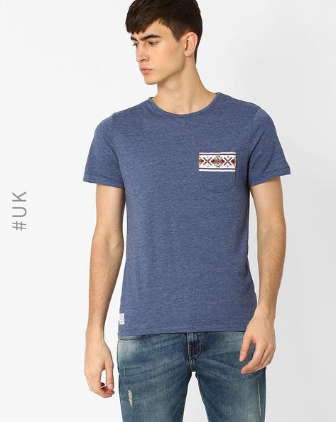 Crew-Neck T-shirt With Patch Pocket By Native Youth ( Grey )