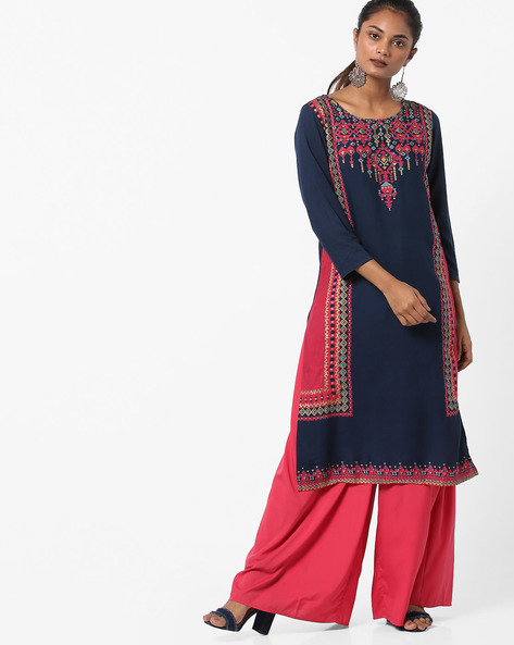 Printed Kurta With Contrast Panels By Melange By Lifestyle ( Navy )