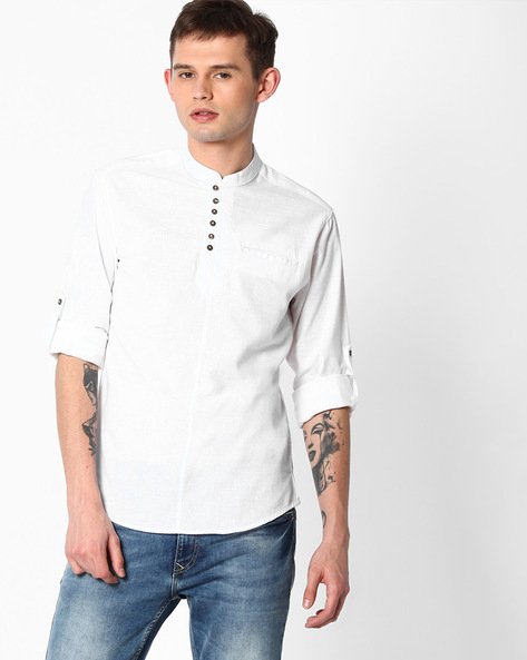 Slim Fit Shirt With Welt Pocket By The Indian Garage Co ( White )