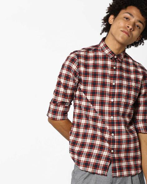 Checked Slim Fit Shirt With Patch Pocket By FLYING MACHINE ( Red ) - 460100829002