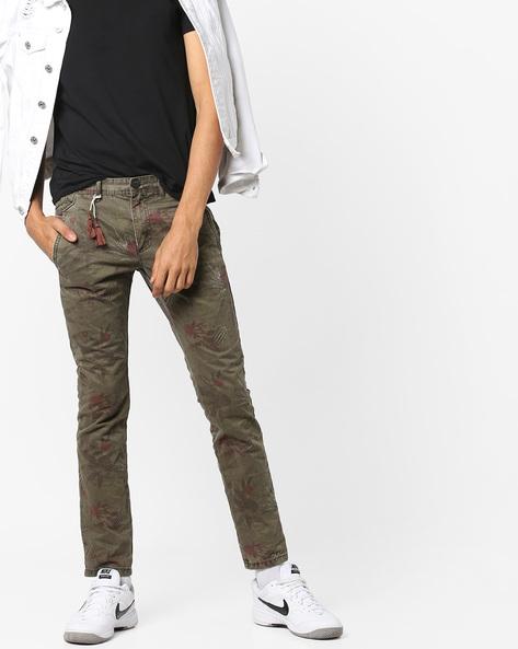 Floral Print Slim Fit Pants By Celio ( Beige )