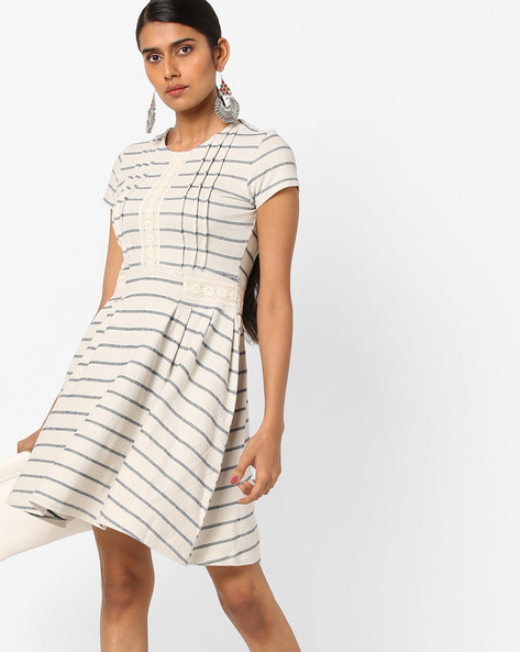 Striped Fit & Flare Dress With Lace Inserts By AJIO ( Offwhite )
