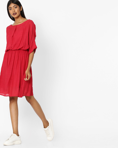 Fit & Flare Dress With Dolman Sleeves By Tokyo Talkies ( Red )