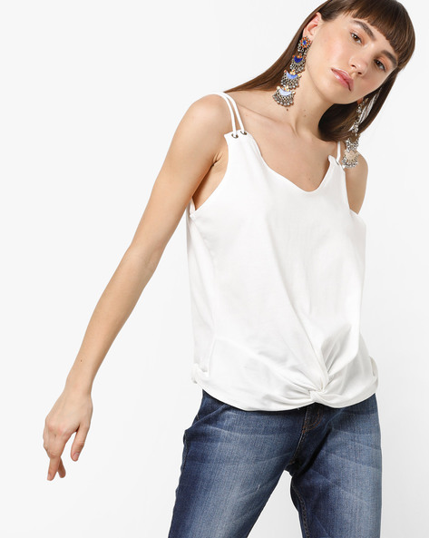 Strappy Knot-Front T-Shirt By AJIO ( Offwhite )
