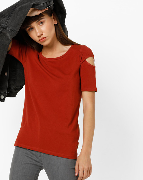 Crew-Neck T-shirt With Cut-Out Sleeves By BOSSINI ( Maroon )