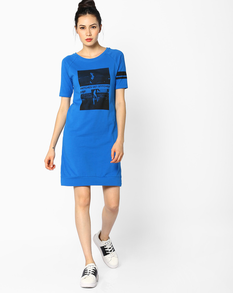 Graphic Print Knitted Dress By AJIO ( Blue )