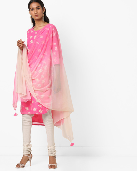 Printed High-Low Kurta With Dupatta By AVAASA SET ( Pink )