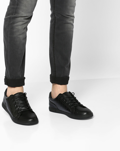 Panelled Low-Top Lace-Up Sneakers By AJIO ( Black )