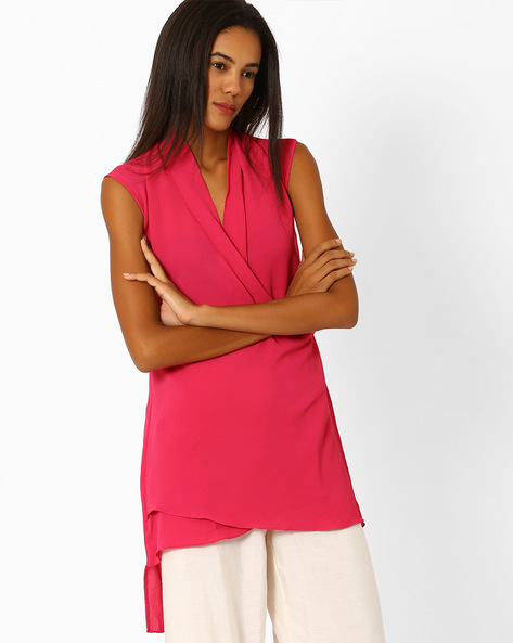 High-Low Tunic With Shawl Collar By And ( Pink )