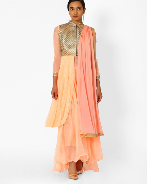 Semi-Stitched Dress Material By Viva N Diva ( Orange )