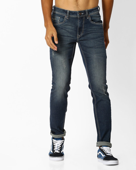 Skinny Fit Distressed Jeans By FLYING MACHINE ( Blue )