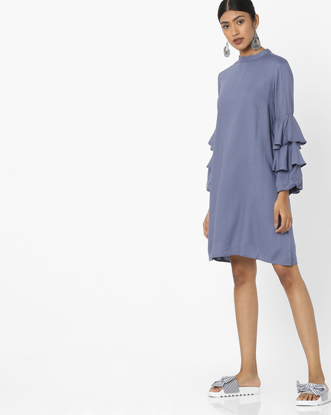 Shift Dress With Tiered Sleeves By Tokyo Talkies ( Grey )