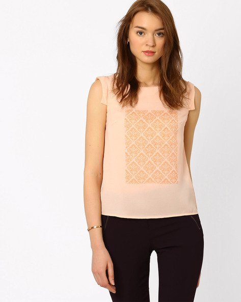 Printed Top With Cap Sleeves By AJIO ( Peach )