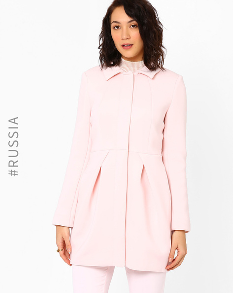 Pleated Coat With Collar By Kira Plastinina ( Rose )
