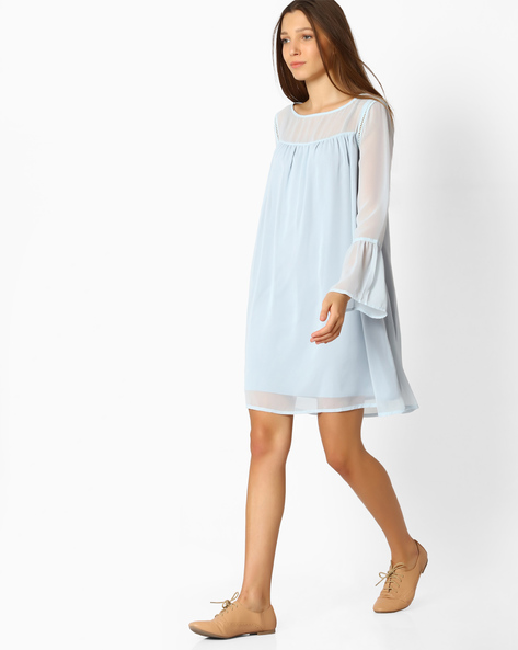 A-line Dress With Bell Sleeves By Femella ( Blue )